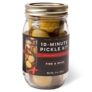 Pearl and Johnny 10-Minute Pickle Kit Fire and Spice jar kit.