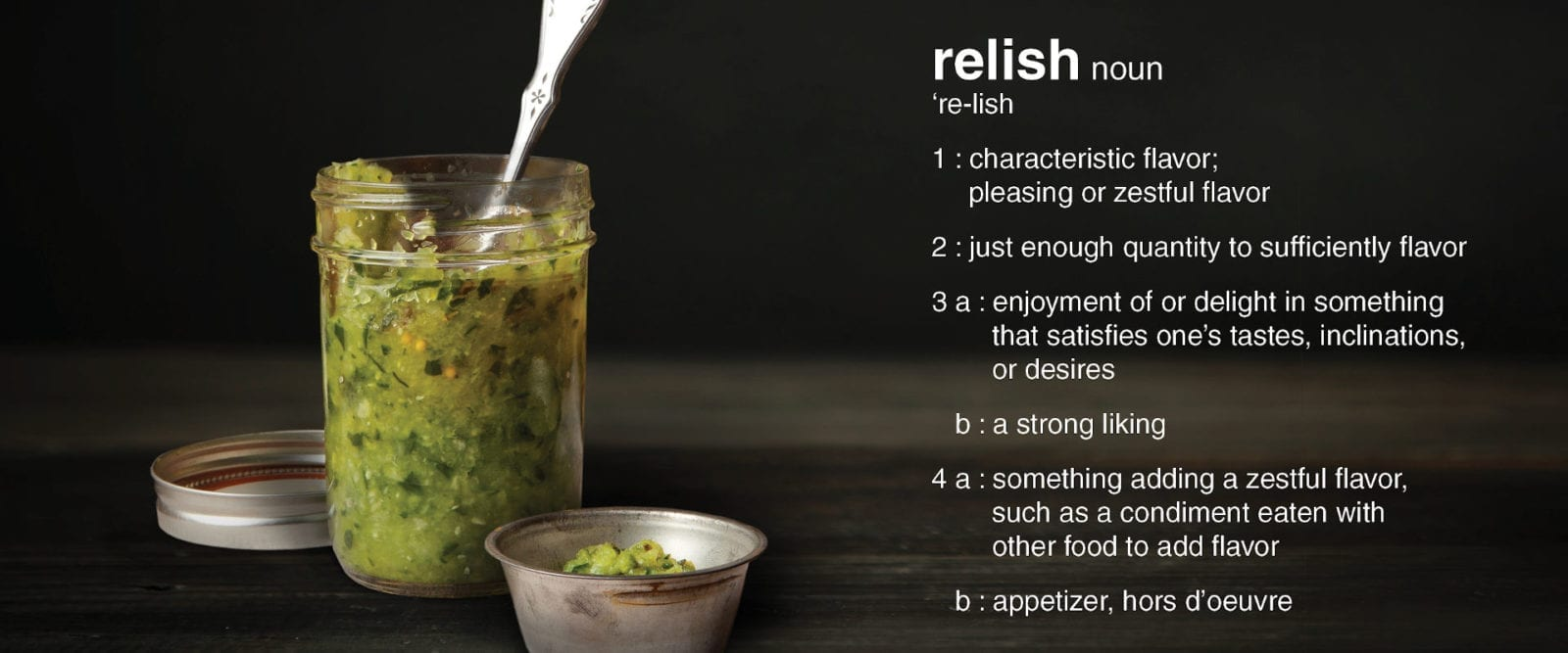 Organic homemade pickle relish with definition