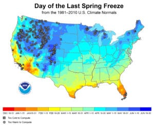 Date of the last spring freeze map